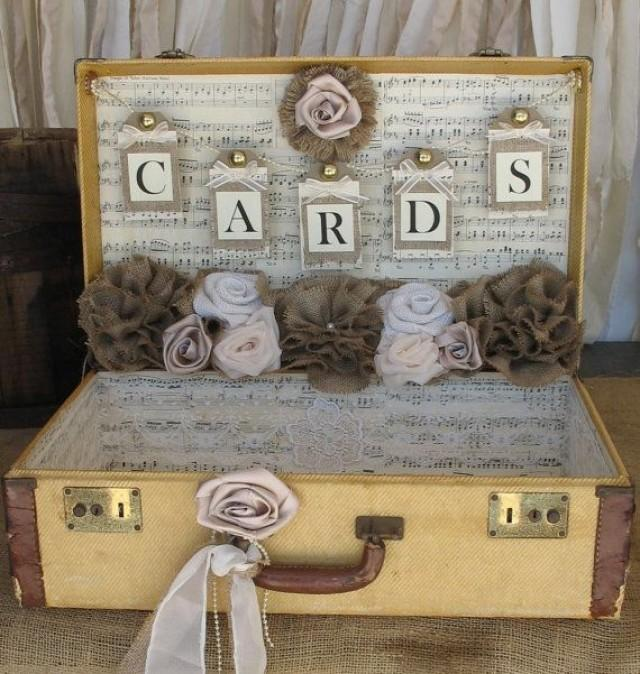 Vintage suitcase wedding card holder shabby chic wedding rustic country weddi - Deco mariage vintage chic ...