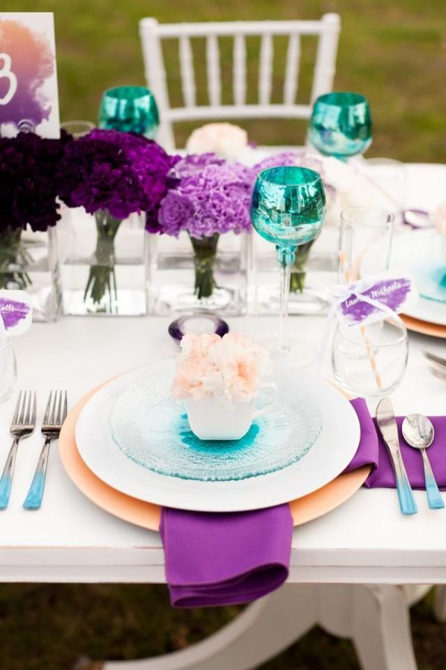 Fancy Pink And Purple Table Setting With Fan Shape Napkin ... |Pink And Purple Table Setting