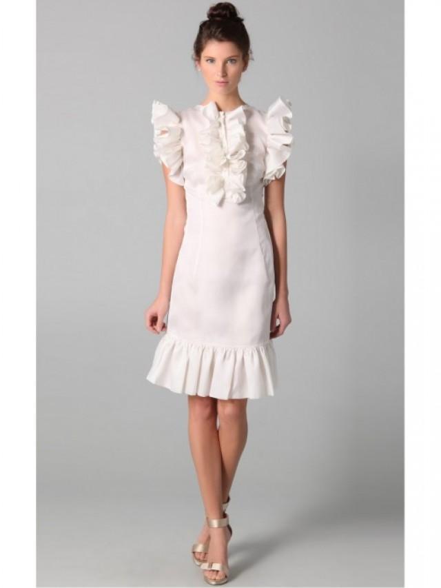 wedding photo - Sheath/Column Chiffon Sleeveless Knee-length Jewel Dress