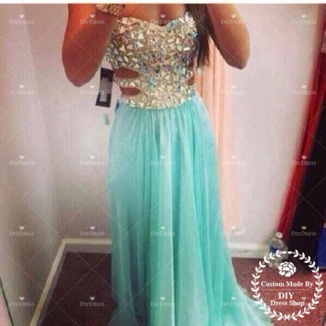 sexy beaded bodice prom dress 2014chiffon skirt mint long