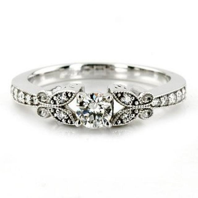 1 00CT Diamond Vintage Engagement Ring Antique Style Unique Milgrain Band 14K