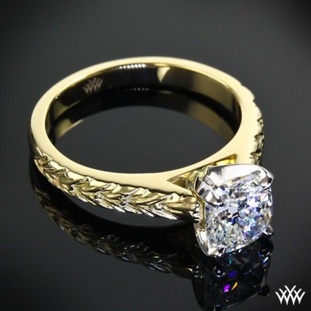 18k Yellow Gold With Platinum Head Engraved Cathedral Solitaire Engagement Ring 2066432