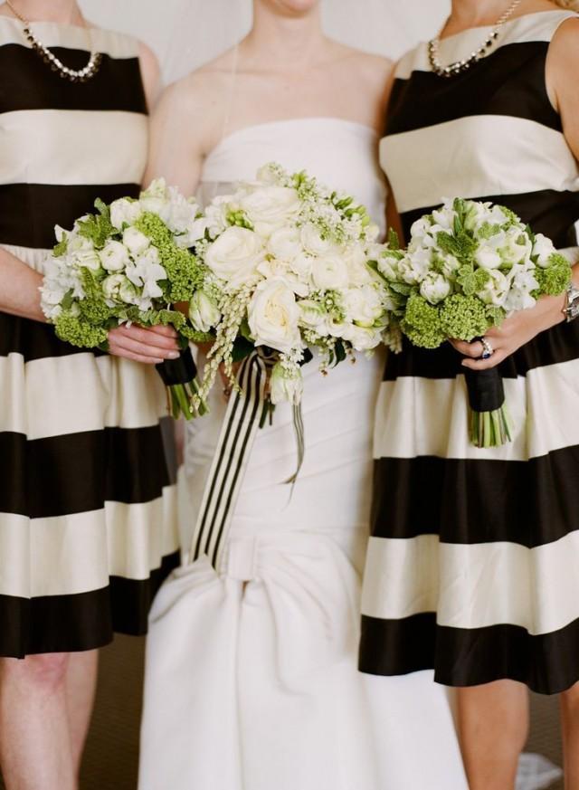 Striped wedding black and white stripe weddings 2066481 for Striped bridesmaid dresses wedding