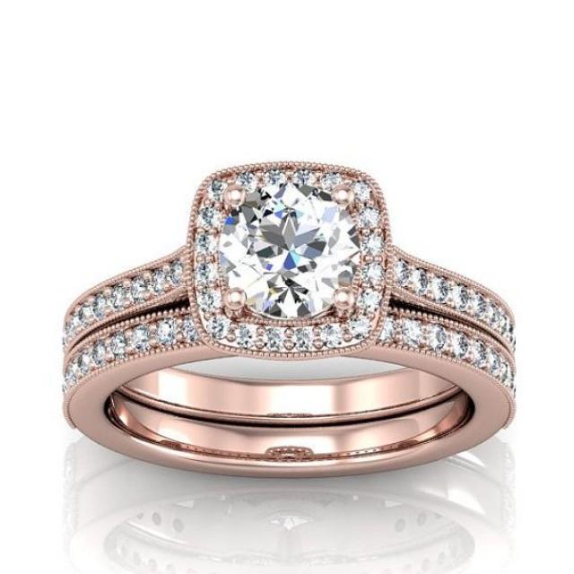 diamant und moissanite rose gold verlobungsring und match hochzeits band 2066775 weddbook. Black Bedroom Furniture Sets. Home Design Ideas