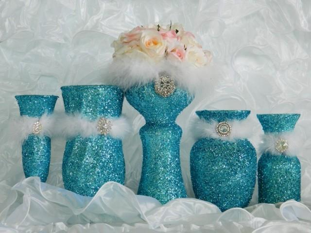 Tiffany blue wedding decorations reception aqua