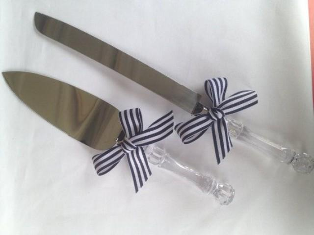 Nautical Wedding Cake Knife And Cake Server Set Ribbon Clear Handles