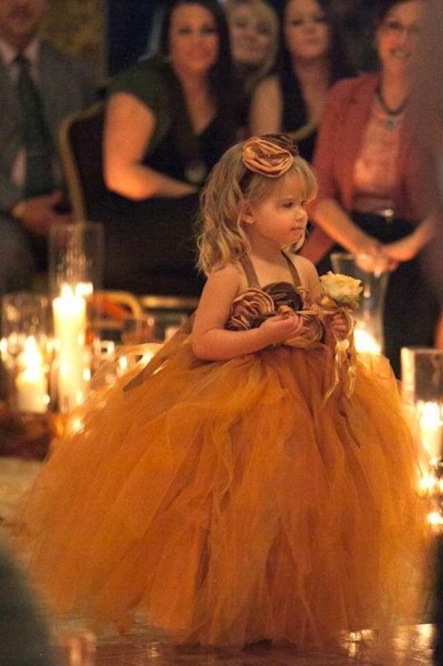 Tutu Dress Fall Flower Girl Tutu Dress Burnt Orange And Brown Girls