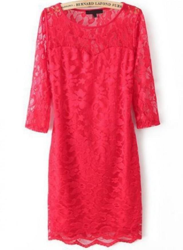 wedding photo - Red Long Sleeve Backless Lace Bodycon Dress - Sheinside.com