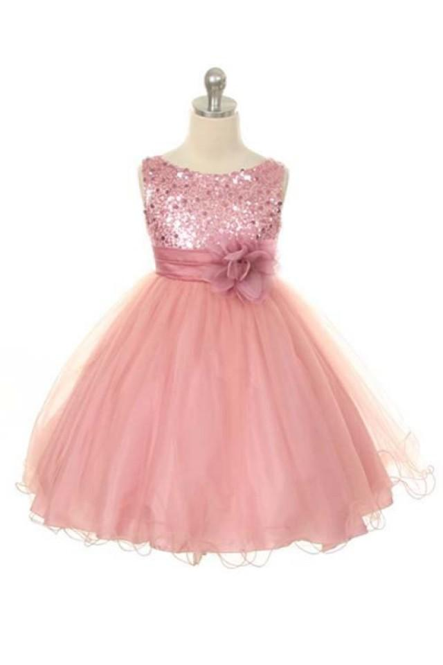 wedding photo - Flower Girl Dress Dusty Rose/Pink Sequin Double Mesh Flower Girl Toddler Wedding Special Occasion Dress