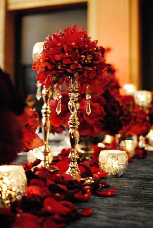 Red wedding red and gold centerpiece 2070182 weddbook - Red centerpieces for tables ...