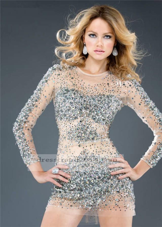 Silver wedding short silver long sleeve prom dress 2070230
