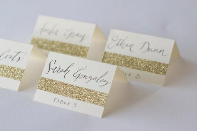 Glitter escort cards with custom calligraphy for wedding for Name place cards wedding