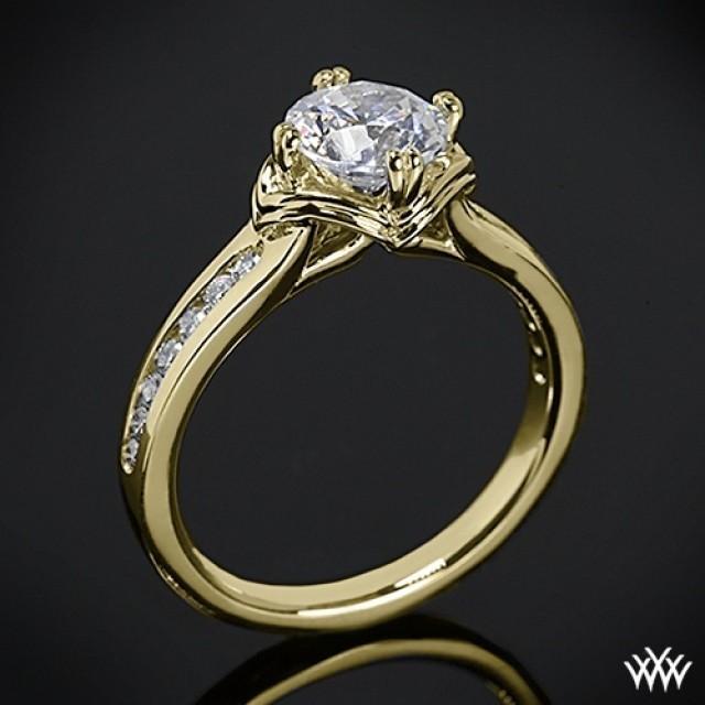 18k Yellow Gold Ritani Modern Channel Set Diamond Engagement Ring