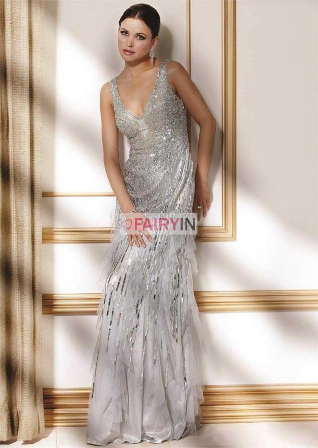 wedding photo - A-Linie/Princess-stil V-Ausschnitt Trägerloser Ausschnitt Chiffon Bodenlang Kleiden