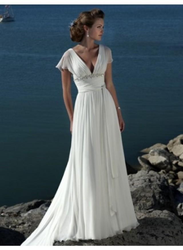 wedding photo - Sexy A-line V-neck Ruching Sweep Train Chiffon Wedding Dresses WE4460