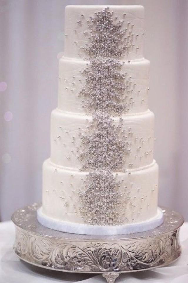 Gold Wedding White Cakes Weddbook