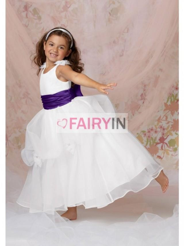 wedding photo - A-line Ankle-length Sleeveless Organza Flower Girl Dresses
