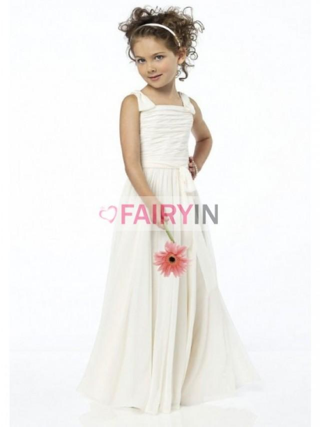 wedding photo - A-line Square Floor-length Chiffon Flower Girl Dresses