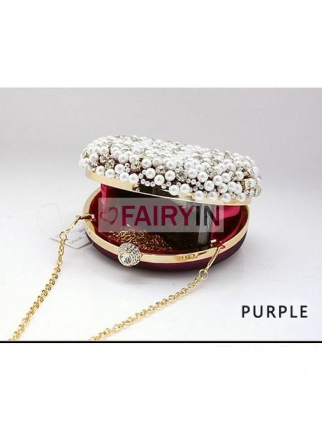 wedding photo - Fairyin Pearls Rhinestones Evening Handbags (BB0028881A7)