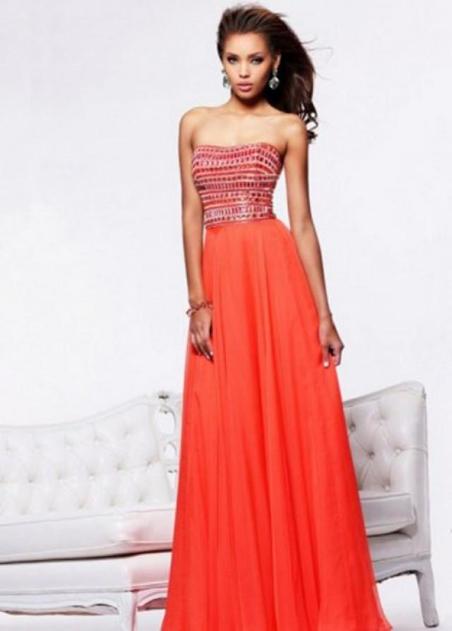wedding photo - 2014 Orange Strapless Rhinestone Beaded Flowing Prom Dress