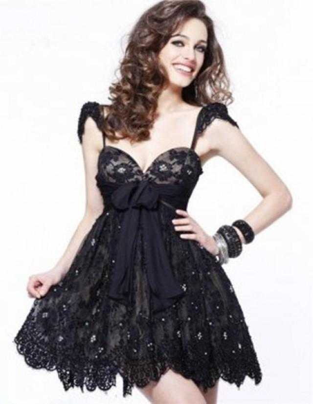 wedding photo - Cheap Short Black Nude Lace Sweetheart Homecoming Dress 2013
