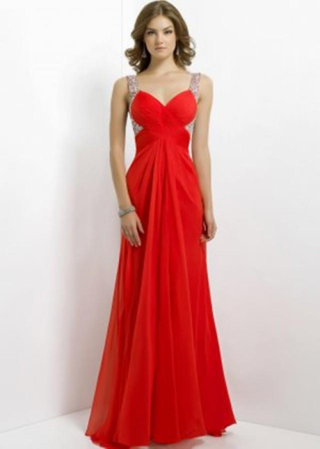 wedding photo - Long Red Sequin Pleated Open Back Prom Dresses