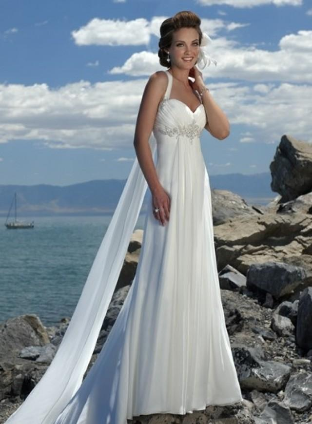 wedding photo - One-shoulder Chapel Train Princess Satin Wedding Dress(WD0120)