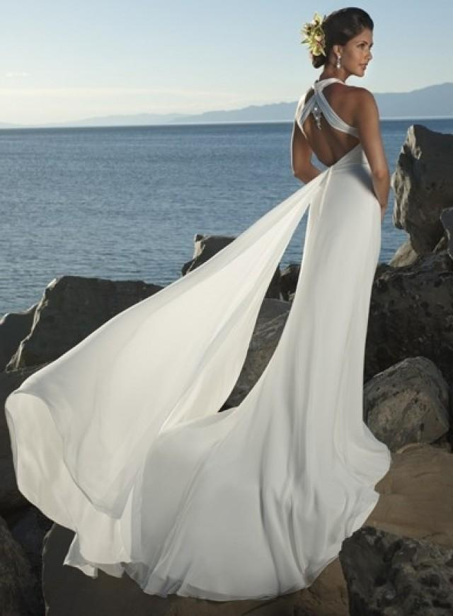 wedding photo - Halter Watteau Train Sheath Chiffon Wedding Dress(WD0103)