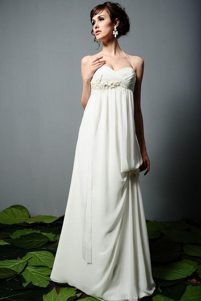 wedding photo - Halter Sweep Train Empire Chiffon Wedding Dress(WD0108)