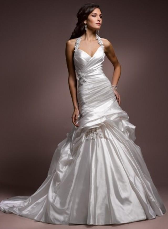 wedding photo - Strapless Chapel Train Trumpet Organza Lace Wedding Dress(WD0113)