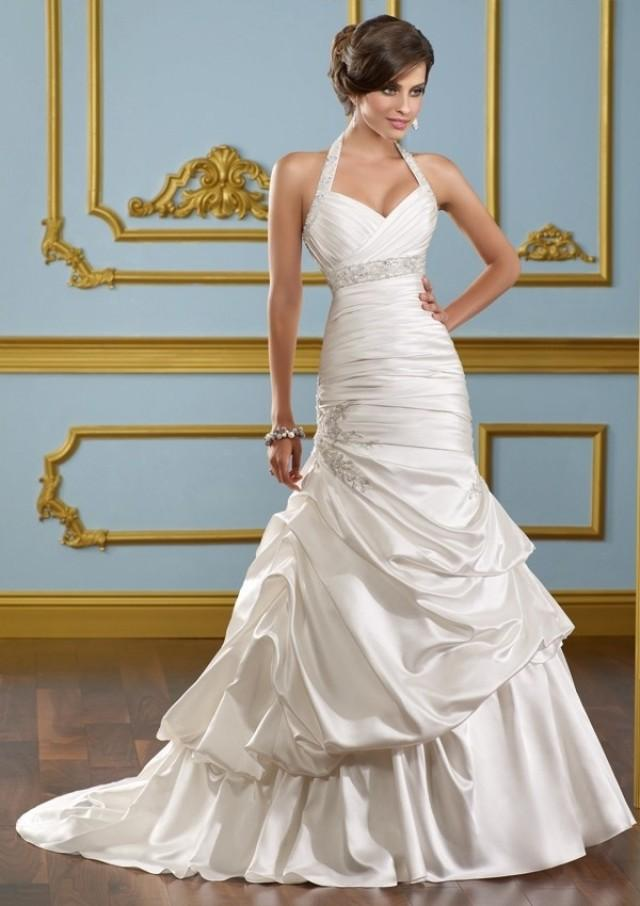 wedding photo - Halter Chapel Train Trumpet Satin Wedding Dress(WD0114)