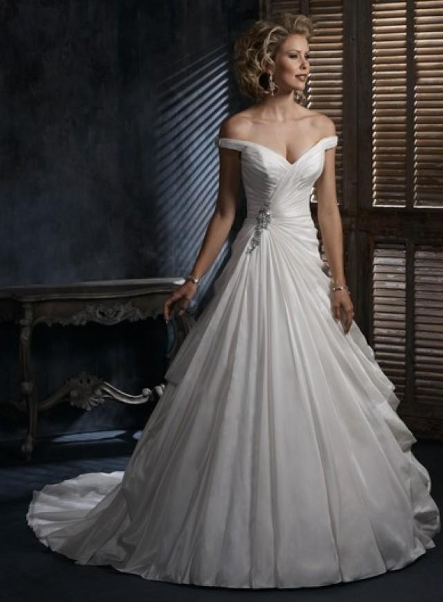 wedding photo - off the shoulder Chapel Train Princess Taffeta Wedding Dress(WD0117)