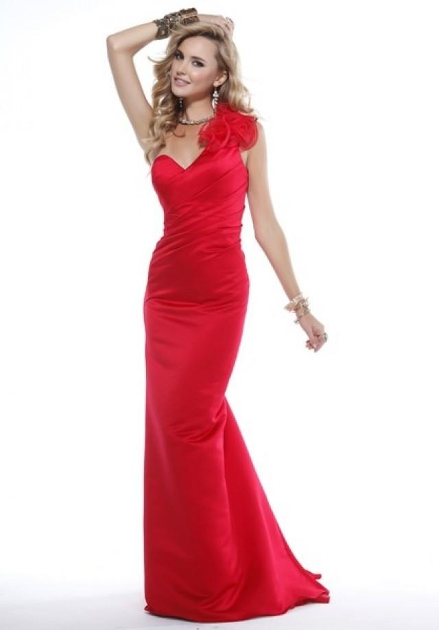 wedding photo - Frilled One-shoulder Sheath Sweep Train Elasti Satin Prom DRess(PD0475)