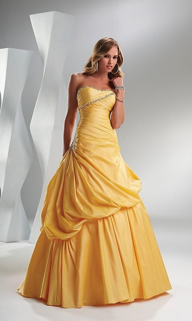 wedding photo - Beaded Ball Gown Strapless Floor-length Taffeta Prom Dress(PD0474)