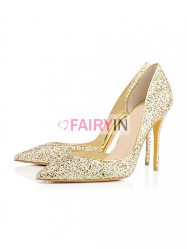 wedding photo - Fairyin Sequin Pointed Toe High Heels