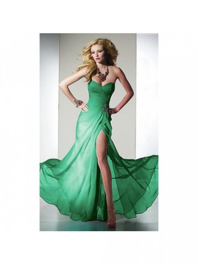 wedding photo - Amazing Chiffon Floor-Length Sweetheart Slit Formal Gown