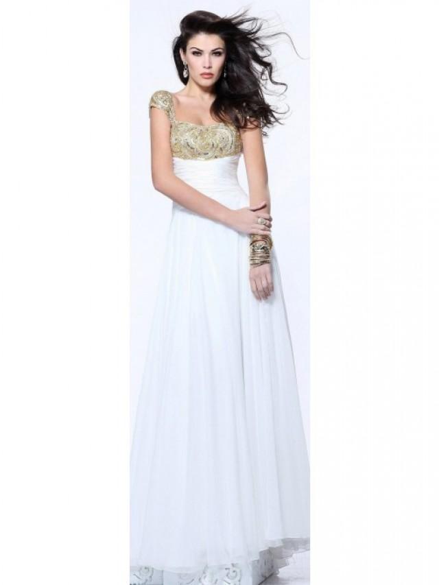 wedding photo - Chiffon Embellished White Floor-Length Cap Sleeve Dress