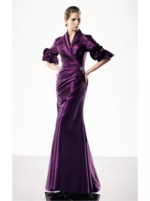 wedding photo - Purple Mermaid Floor-length V-neck Dress