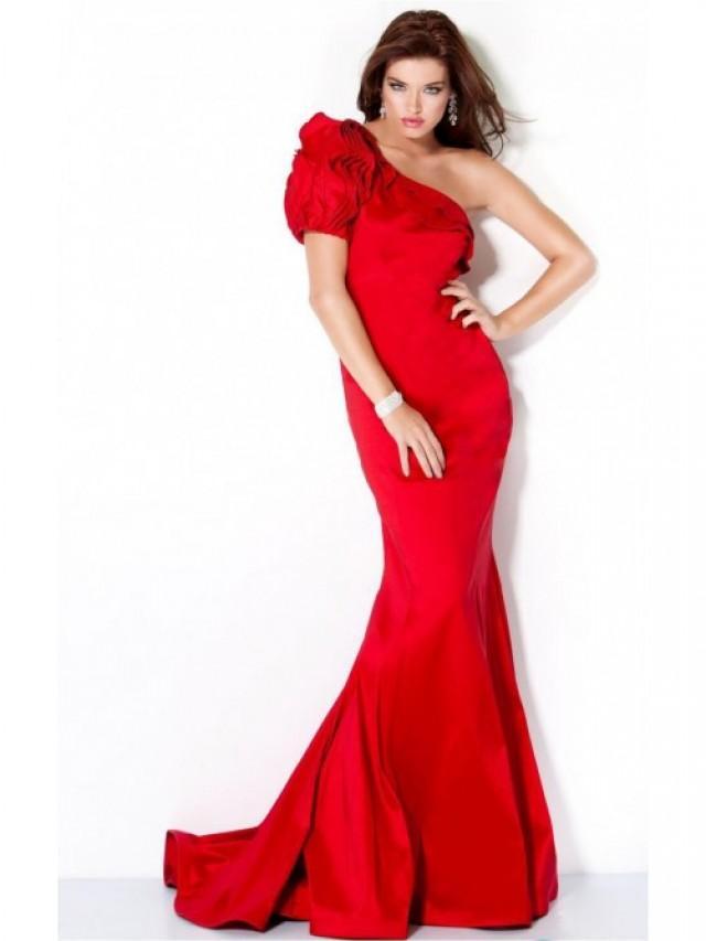 wedding photo - Elegant Red Mermaid Floor-length One Shoulder Dress