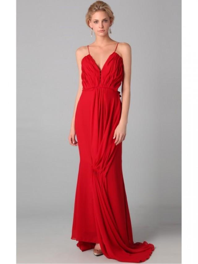 wedding photo - Red Sheath Floor-length Spaghetti Straps Dress