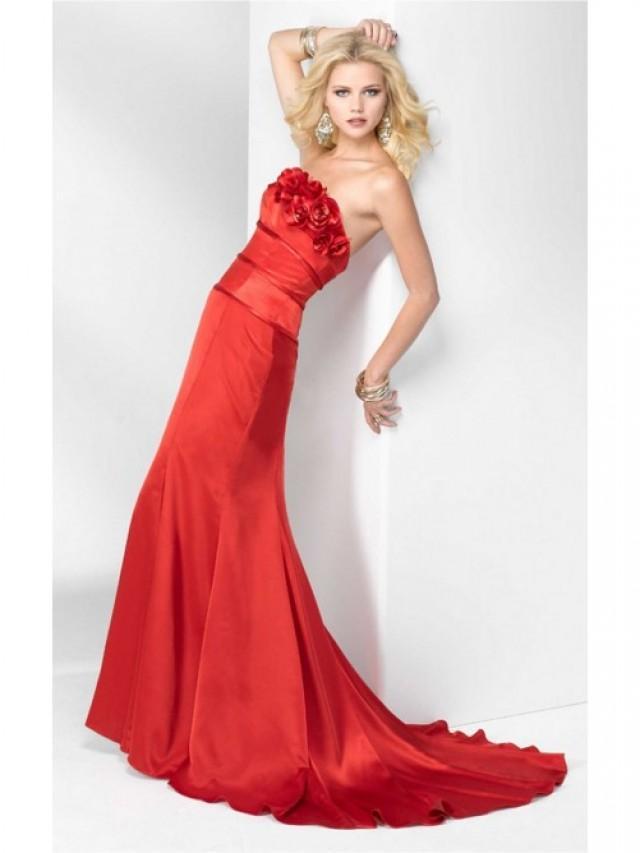 wedding photo - Charming Red Sheath Floor-length Strapless Dress