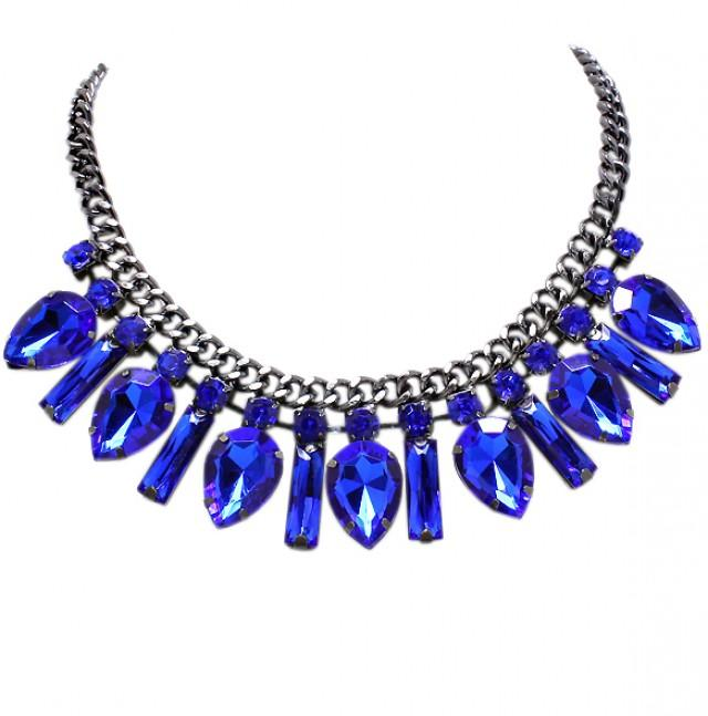wedding photo - Glam Crystal Necklace in Cobalt