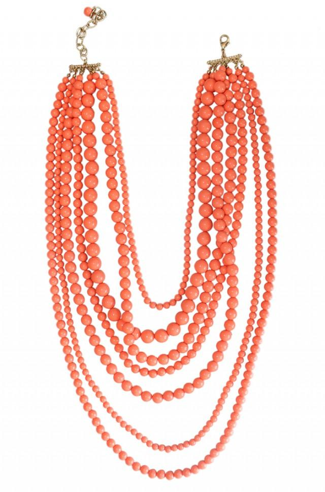wedding photo - coral waterfall necklace