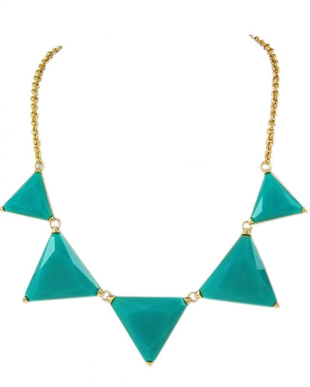 wedding photo - mint & triangles necklace