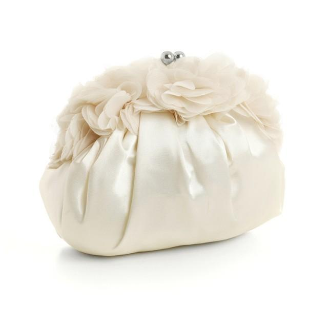 wedding photo - Ivory Satin Bag with Chiffon Flutters