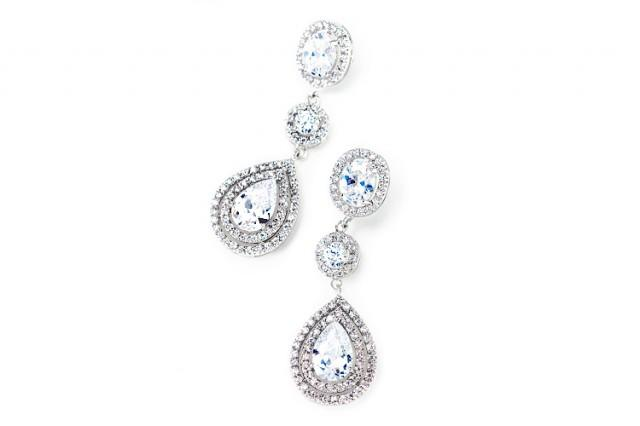 wedding photo - Pave encircled pear drop earring