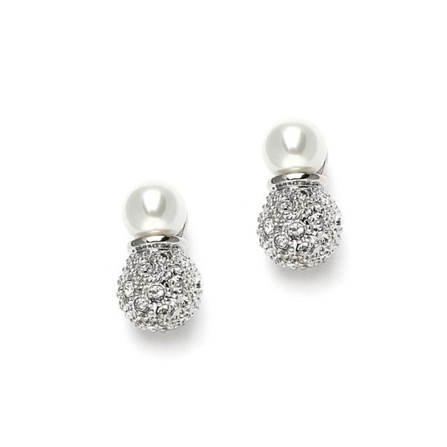 wedding photo - Pearl & Pave Earrings
