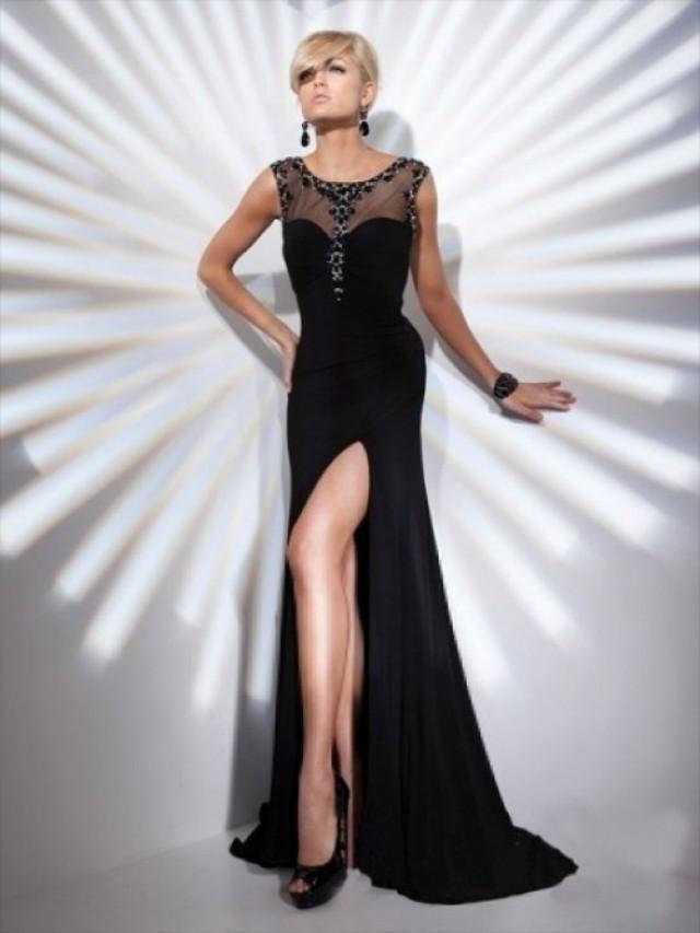 wedding photo - Sheath/Column Scoop Beading Sleeveless Floor-length Chiffon Dress