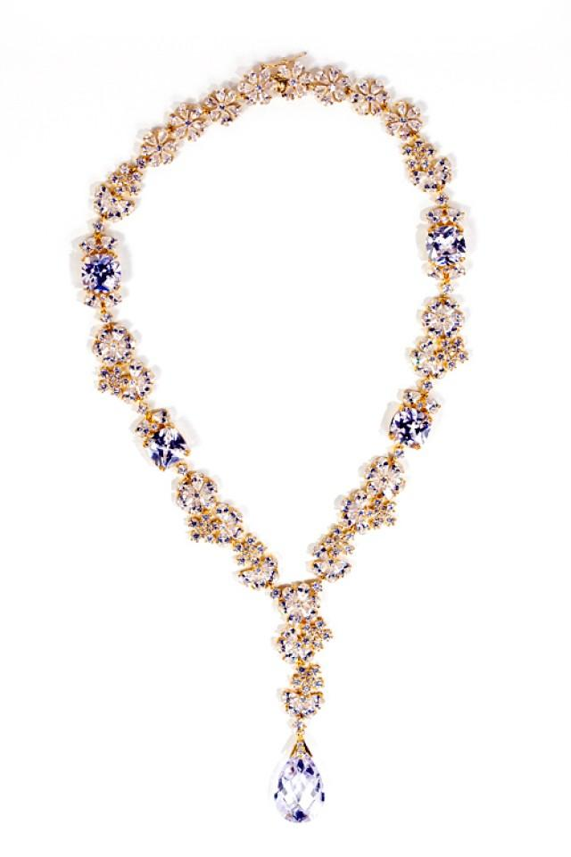 wedding photo - 18K gold tone floral necklace