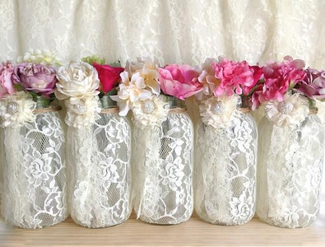 Ivory lace covered mason jar vases wedding decoration for Engagement decorations ideas at home